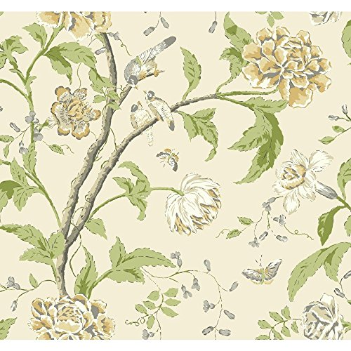 York Wallcoverings EB2073 Carey Lind Vibe Teahouse Floral Wallpaper, Rich Cream/Grey/Amber/Pale Green/Medium Green/White/Pearl ()