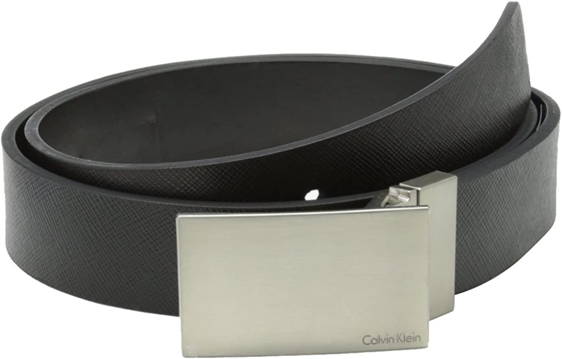 Calvin Klein - Hebilla para hombre, 32 mm, reversible, con correa plana, con cinturón de logotipo