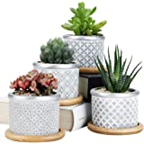 Sun-E Cement Succulent Planter Pots,Cactus Plant Pot Indoor Small Concrete Herb Window Box Container for Home and Office Deco
