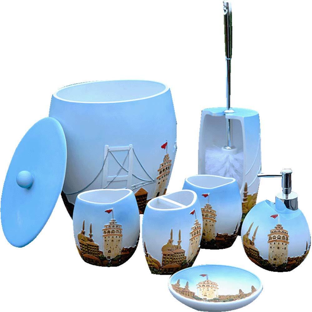 QiXian Castle Bathroom Seven Piece Resin Bathroom Bathroom Set Washing Set Toilet Brush Bucket Trash Can Toilet Brush Holder Strong Sturdy