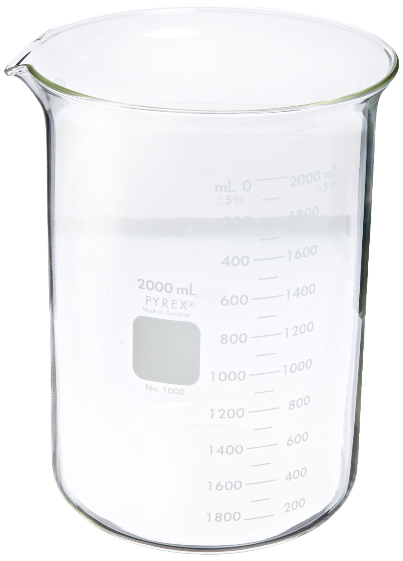 Corning Pyrex 1000-2L Glass 2 Liter Graduated Low Form Griffin Beaker, 100mL Graduation Interval, with Double Scale (Pack of 4)
