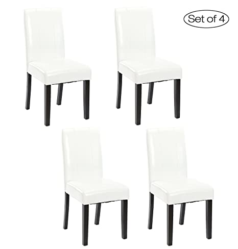 Set of 4 Kitchen Chairs with Solid Wood Legs ZXBSWELE Easy-to-Clean Urban  Style Dining Chair for Kitchen, Living Room, Dining Room, Leatherette, White