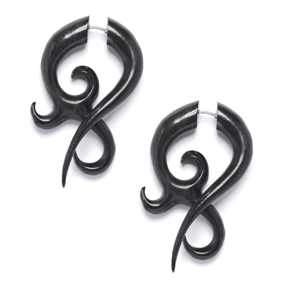 81stgeneration Women's Men's Black Horn Fake Taper Stretcher Spiral Twist Tribal Earrings 16asTEH164
