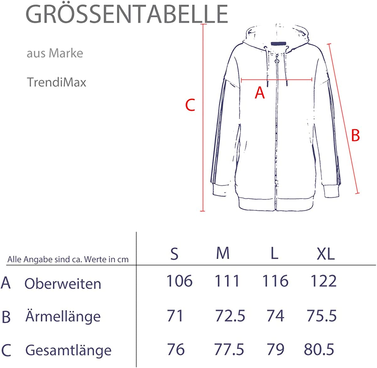 TrendiMax Damen Sweatjacke Kapuzenjacke Full Zip Sweater Langer Hoodie Kapuzenpullover Schwarz Streifen