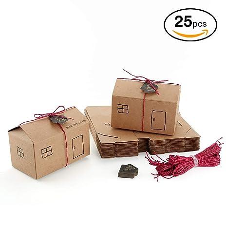 VEESUN Cajas para Regalo Kraft, 25pcs Forma de Casa Bolsa de Regalo Caja de Dulces con Cuerda Yute Vintage Papel de Bolsita Regalo para Aniversario ...