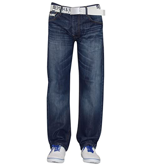 NUOVO Da Uomo Designer Smith and Jones Jeans Cintura Gratis Jeans Regular BOOT CUT pantalone