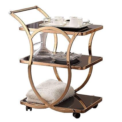 Rolling Kitchen Bathroom Trolley Cart/Metal Tempered Glass Tea Bar Wine Rack/Utility Storage