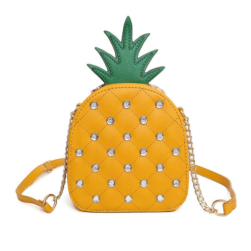 Kukoo Girl Leather Cross Body Bag Pineapple Single Shoulder HandBag Summer Fashion Bag (Yellow)