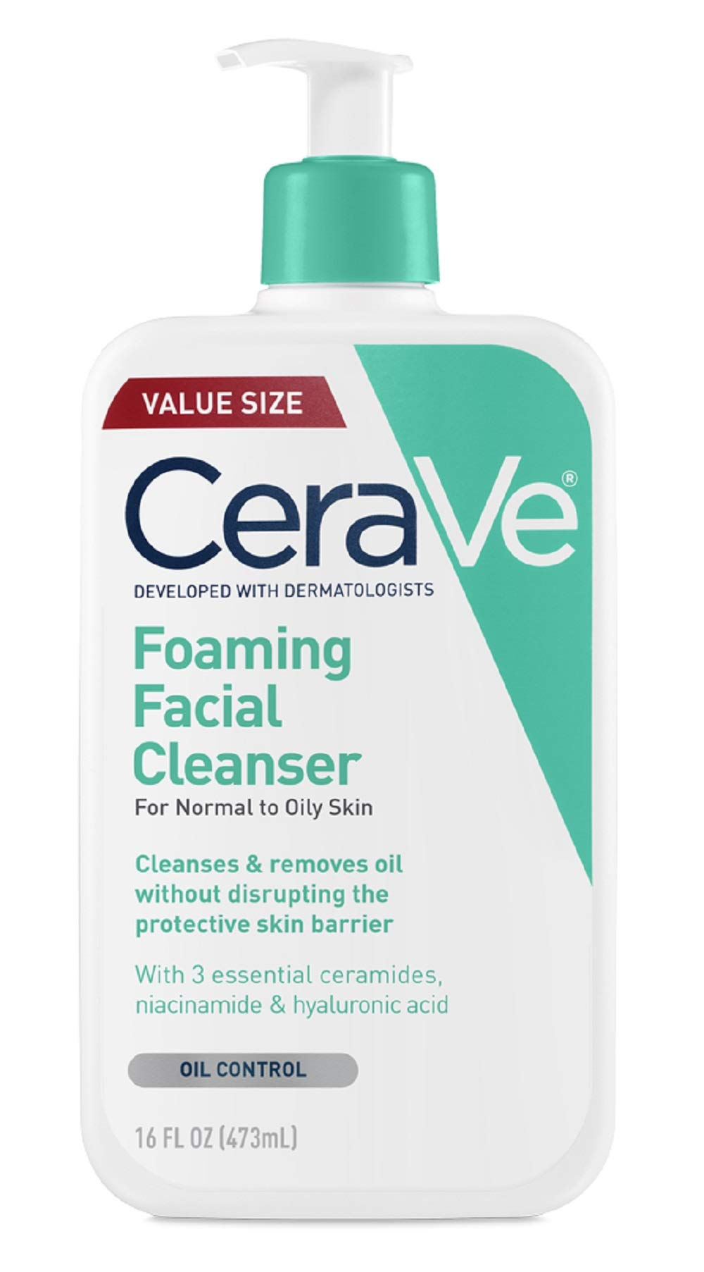 CeraVe Foaming Facial Cleanser | 16 Fl. Oz | Daily Face Wash for Oily Skin | Fragrance Free by CeraVe