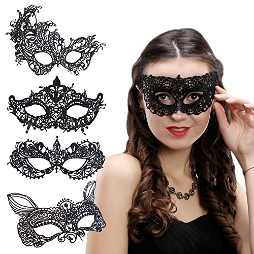 5 Pack Women Masquerade Ball Lace Masks Halloween Carnival Eye Veil set3