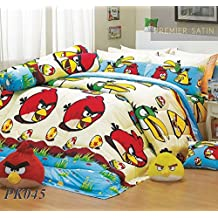 Angry Birds Bedding Set (Queen, PK45);1 Blanket with 5 Pieces Bed Sheet Set : 1 Bed Fitted Sheet, 2 Standard Pillow Case and 2 Standard Bolster Case