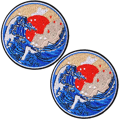 TACVEL Great Wave Off Kanagawa Embroidered Patches Iron on/Sew on Emblem Patches Applique for Jackets, Jeans, Backpacks, Caps