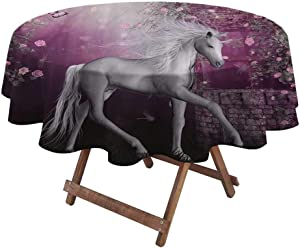 """Spring Tablecloth Fantasy House Decor Collection Halloween Round Tablecloth Unicorn in Rose Garden Summer Flying Butterflies Romance Fairy Tail Themed Art 48"""" Diameter Pink White"""