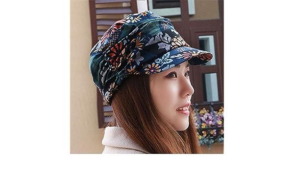 BTBTAV Hat Mujer Plus Grueso Terciopelo Moda étnica Cap Cap Boinas Floral  Delgado era cálido 060ea7a89d4