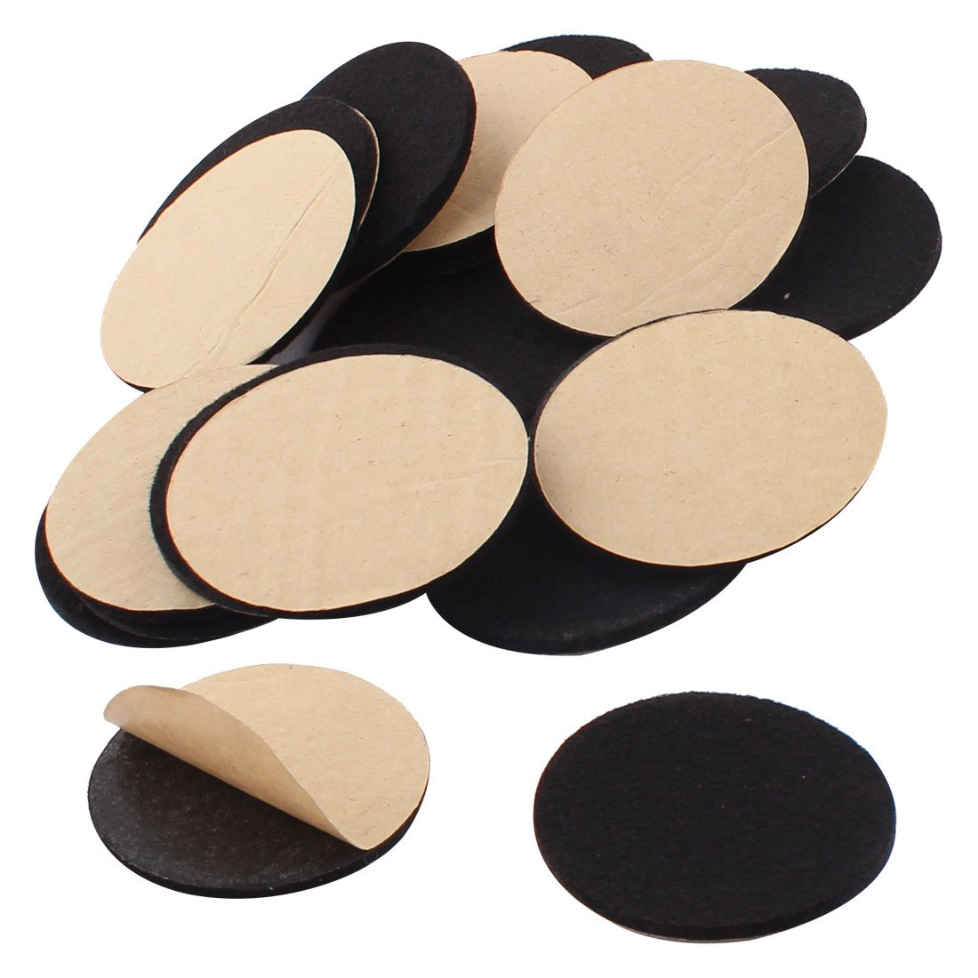 uxcell Household Self Stick Table Chair Floor Protector Furniture Felt Pads Mats 50mm 20pcs Black a16050600ux0724