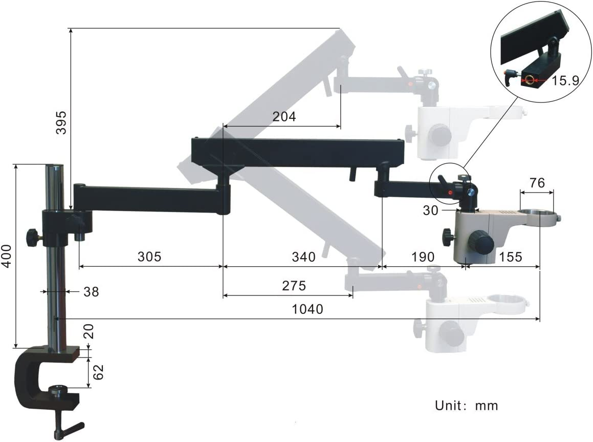 OMAX 2.1X-270X 5MP Digital Zoom Stereo Microscope on Articulating Arm Stand with 150W Ring /& Dual Lights
