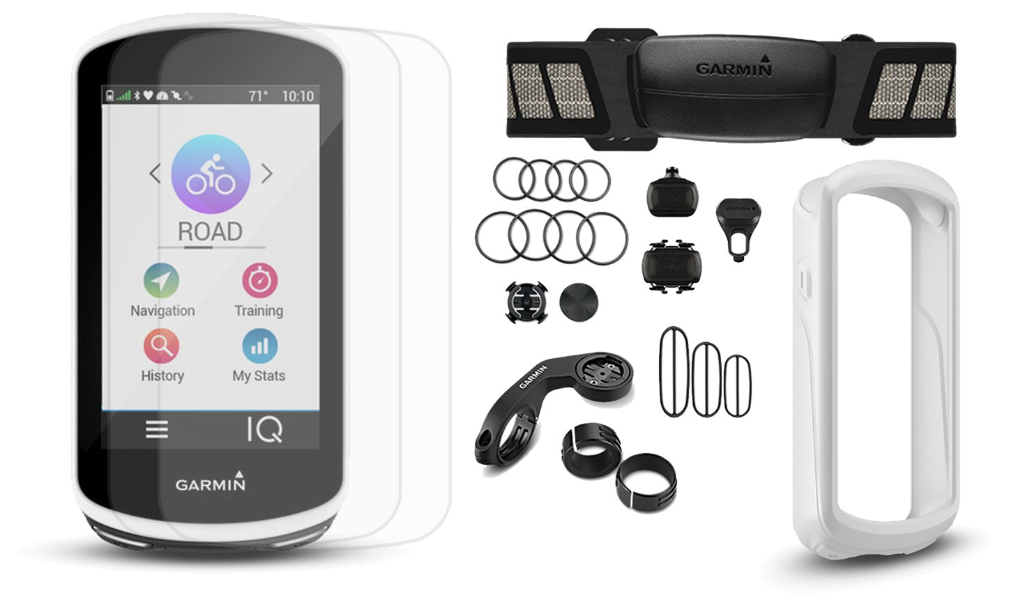 Garmin Edge 1030 Cycle Bundle   with Chest HRM, Speed/Cadence Sensors, PlayBetter Silicone Case & Glass Screen Protectors   Bike Mounts   GPS Bike Computer, Navigation (+Bundle, White Case)