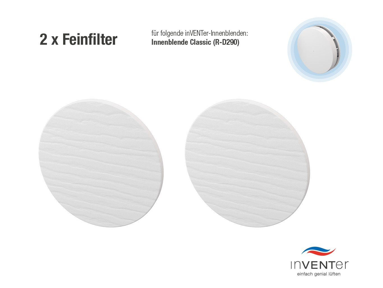 2 x inVENTer-Feinfilter der Filterklasse F5 zum Einsetzen in Innenblende Classic (R-D290) | 1004-0065 | Feinfilter aus Watte | Filter zur Verbesserung der Luft- und Lebensqualitä t inVENTer GmbH