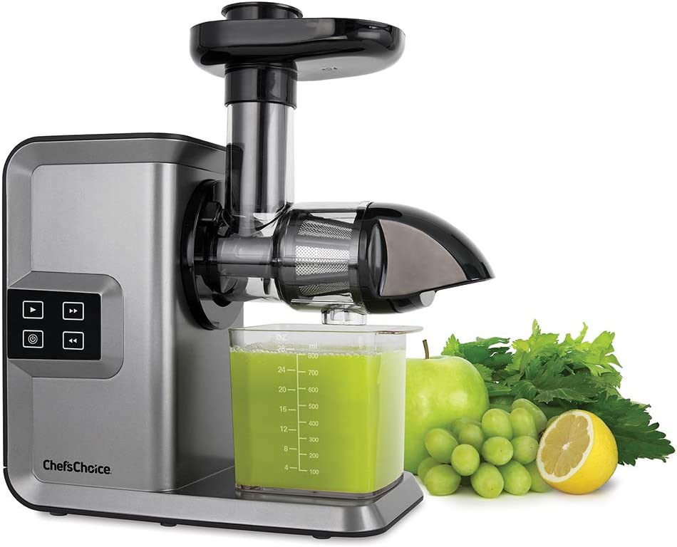 Chef'sChoice Cold Press Juicer Extractor Machine Masticating Quiet Motor Digital Controls Anti-Clog Reverse Function Nutrient Preserving For Juicing Fruits Veggies and All Greens, 150-watt Silver