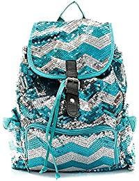 Sequin Chevron Stripe Backpack Handbag