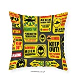 VROSELV Custom Cotton Linen Pillowcase Outer Space Decor Warning Ufo Signs with Alien Faces Heads Galactic Paranormal Activity Design for Bedroom Living Room Dorm Yellow 28''x28''