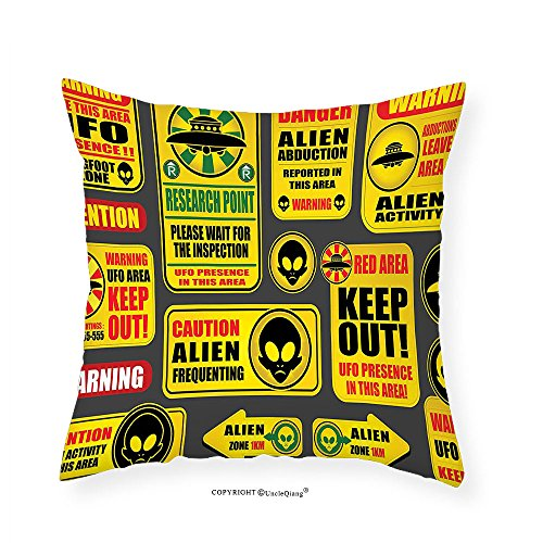 VROSELV Custom Cotton Linen Pillowcase Outer Space Decor Warning Ufo Signs with Alien Faces Heads Galactic Paranormal Activity Design for Bedroom Living Room Dorm Yellow 28''x28'' by VROSELV