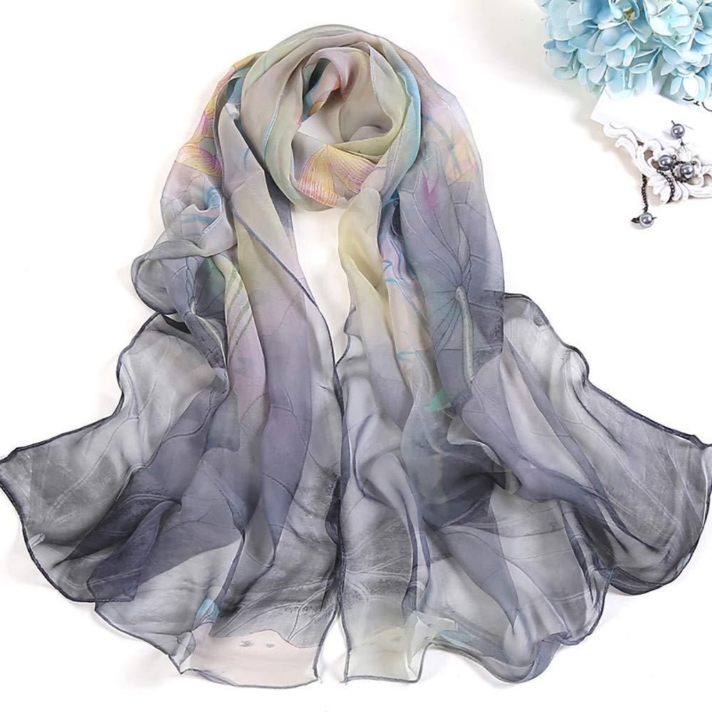 Huhu833 Mode Damen Schals D/ünner Seidenschal Lotus Printing Long Soft Wrap Schal Damen Schal Schals 160x50cm
