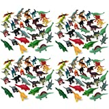 Boley 150 Pack Miniature Green Army Men Sized Dinosaur Toys - Mini Plastic Dinosaur Toy Figures - For Party Packs, Party Favors, and Cake Toppers