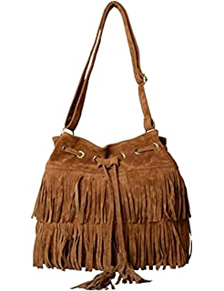 Amazon.com: Hynes Victory Fringe Tassel Crossbody Bags (Black ...