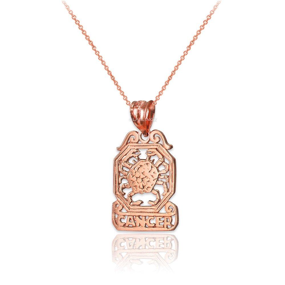 LA BLINGZ 10K Rose Gold Open Design Cancer Zodiac Charm Necklace