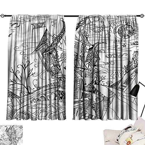 Jinguizi Drapes/Draperies Darkening Curtains Sketchy,Cartoon Witch Halloween,2 Panel Curtain for Kids Room W63 x L72 ()