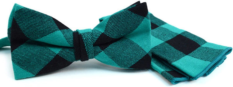 Blue Plaid Cotton Bow Tie /& Matching Pocket Square