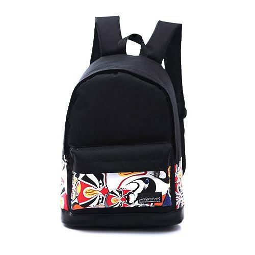 STRIR-Mochila Backpack Mochilas Escolares, Escolar Lona Grande Bolsa Estilo Étnico Vendimia Casual Colegio