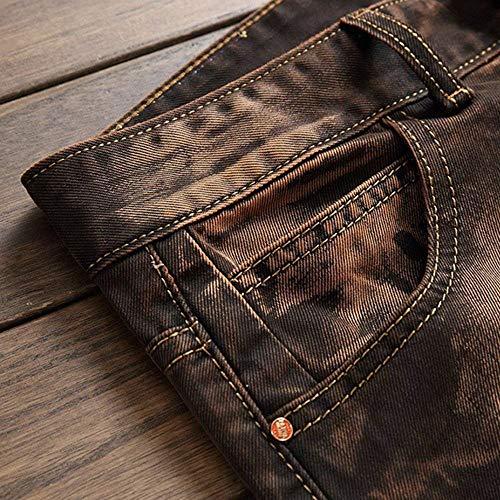 Estilo Jeans In Skinny Casual Pantaloni Bobo Da hop Uomo 88 Morbido Stretch Denim Especial Retrò Kaffeebraun Confortevoli Hip w6PPzSx