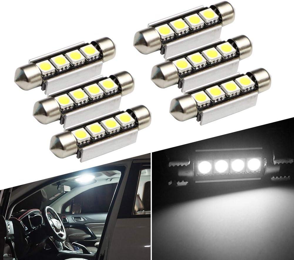 6PCS Lianqi Xenon White 42MM 4SMD Error Free festoon LED Bulbs Car Interior Lights 4-5050-SMD 12V