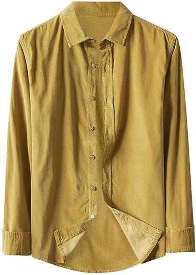 MEIbax Primavera Autumn-Winter Color Sólido Algodón Y Lino Camisa ...