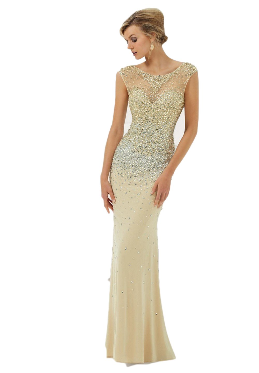 Love Dress Scop Beading Floor lenght Prom Dress Wedding Party Gown Champagne Us 16