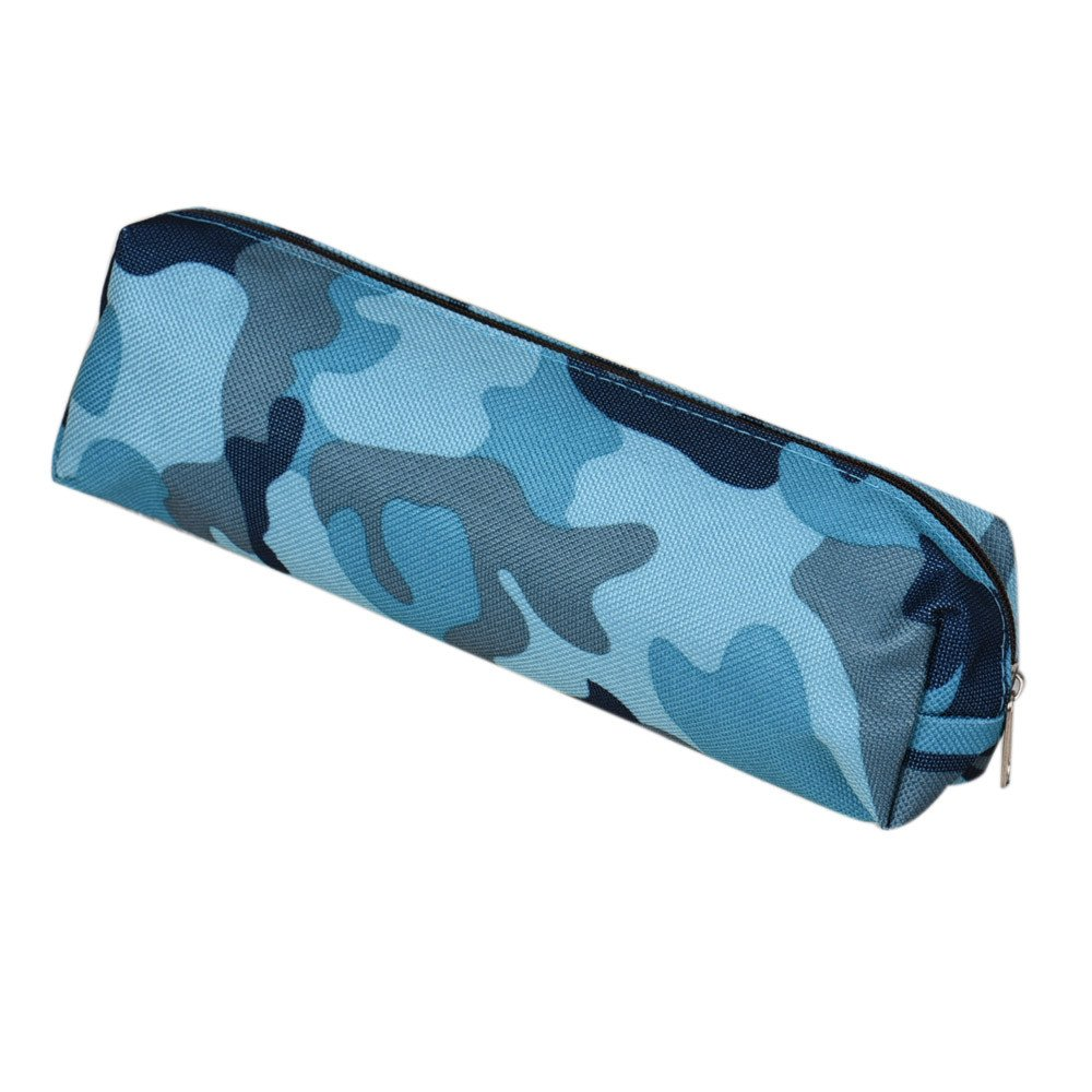 2 Colors Camouflage Pen Bag Pencil Case Pouch Stationery Cosmetic Makeup Bag uf (Blue)