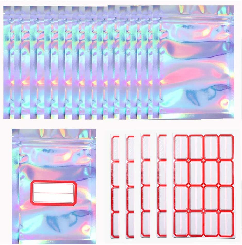 CYH 100 Piezas Bolsas de Aluminio Pequeñas Resellable, Bolsas Cierre Zip Plastico Autocierre Mylar Bags con 80 piezas Etiquetas adhesivas, para Tuercas, Hojas de Té, Galletas, 2.7x4 pulgadas (7x10cm)
