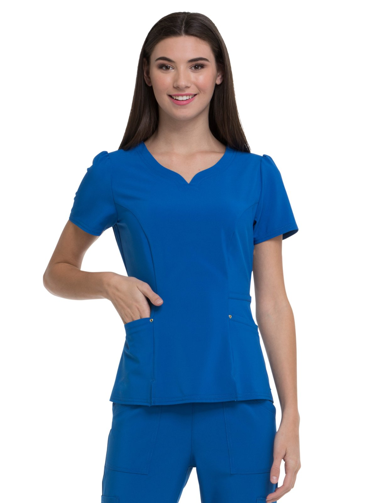 HeartSoul Love Always Women's V-Neck Solid Scrub Top X-Small Royal