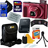Canon PowerShot SX620 HS 20.2 MP Wi-Fi Digital Camera with 25x Optical Zoom & HD 1080p video (Red) International Version + 9pc 16GB Accessory Kit w/HeroFiber Gentle Cleaning Cloth