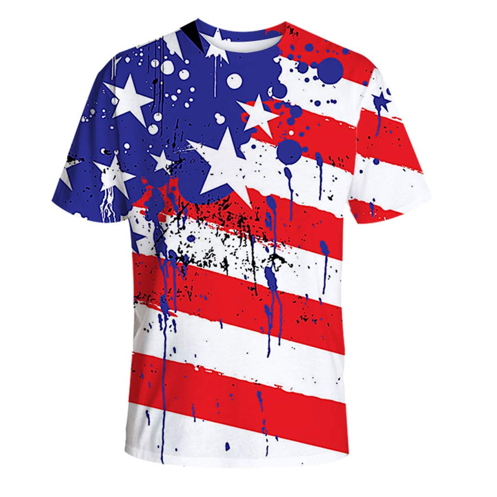 Winsummer 4th of July Independence Day Mens Tee Red White and Blue American Flag Short Sleeve T-Shirt for Men