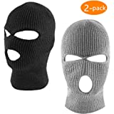 ZONLY 2Pack Knitted 3 Hole face ski mask, Adult Winter Balaclava Warm Knit Full Face Mask for Outdoor Sports