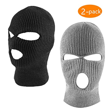 1d4263ff8e04 Image Unavailable. Image not available for. Color  ZONLY 2Pack Knitted 3  Hole face ski mask