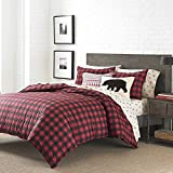 OSD 3pc Black Red Plaid Duvet Cover Full Queen Set, Percale Cotton, Cabin Themed Bedding Checked Lumberjack Pattern Lodge Southwest Tartan Madras Crisscross Squares Hunting
