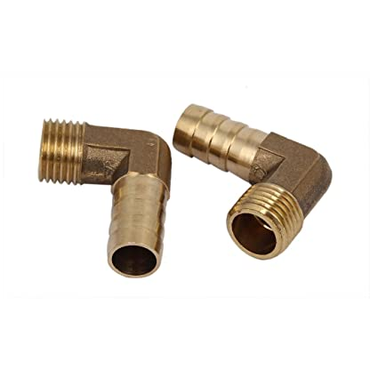 1//4BSP Thread 10mm Tube Dia 90 Degree Brass Hose Barb Coupler Connector 2pcs