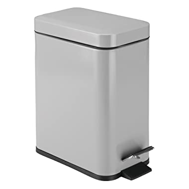 mDesign 5 Liter Rectangular Small Steel Step Trash Can Wastebasket, Garbage Container Bin for Bathroom, Powder Room, Bedroom, Kitchen, Craft Room, Office - Removable Liner Bucket - Gray
