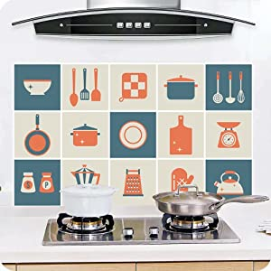 Joycentre Removable Kitchen Oil Proof Decal Sticker Heat-Resistant Waterproof Tile Sticker Aluminium Foil Decals Dining Room Decor (Tableware #2)