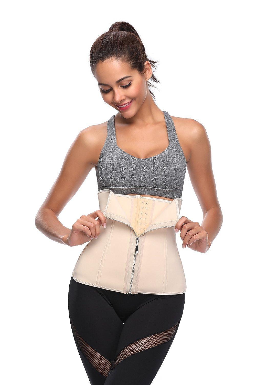 c40112a36e KHC Women s Natural Latex Underbust Zipper Waist Corset Trainer Girdle at  Amazon Women s Clothing store