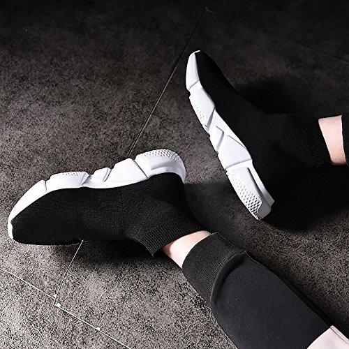 KRIMUS Herren Wanderschuhe Leichte atmungsaktive Laufschuhe Flyknit Fashion Sneakers von Schwarz